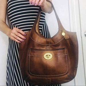 Coach Rare Distressed Leather Legacy Hobo Tote Bag